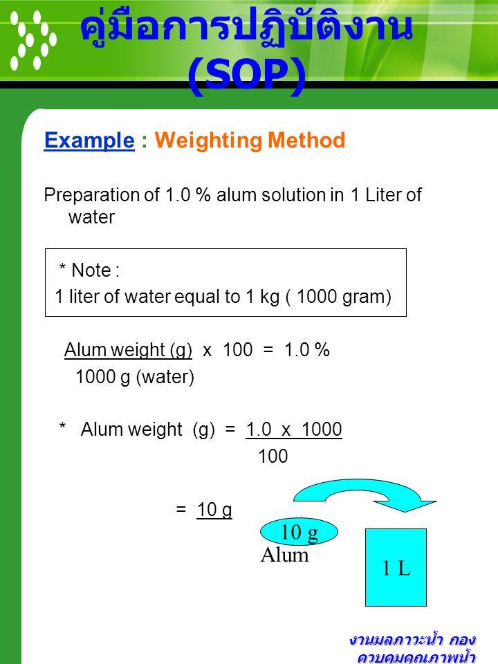 งานมลภาวะน้ำ กอง ควบคุมคุณภาพน้ำ คู่มือการปฏิบัติงาน (SOP) Example : Weighting Method Preparation of 1.0 % alum solution in 1 Liter of water * Note :