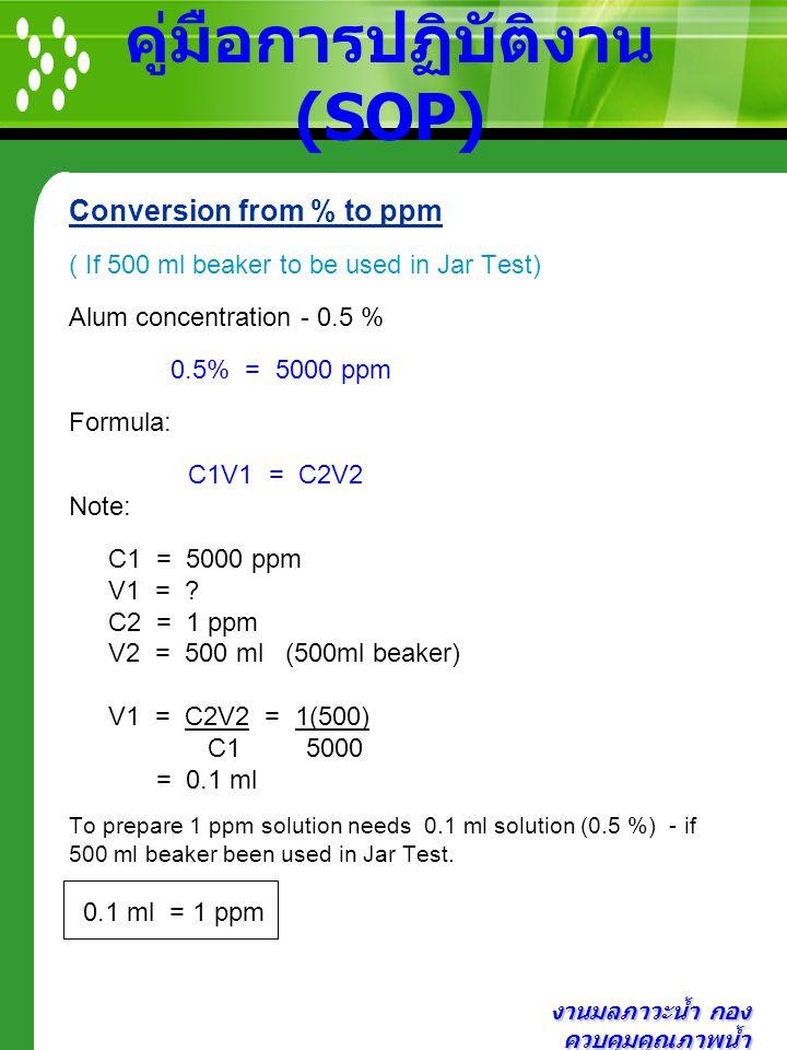 งานมลภาวะน้ำ กอง ควบคุมคุณภาพน้ำ คู่มือการปฏิบัติงาน (SOP) Conversion from % to ppm ( If 500 ml beaker to be used in Jar Test) Alum concentration - 0.