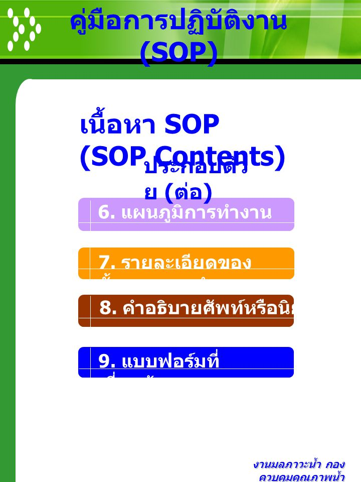 งานมลภาวะน้ำ กอง ควบคุมคุณภาพน้ำ คู่มือการปฏิบัติงาน (SOP) 6. แผนภูมิการทำงาน 8. คำอธิบายศัพท์หรือนิยาม เนื้อหา SOP (SOP Contents) ประกอบด้ว ย ( ต่อ )
