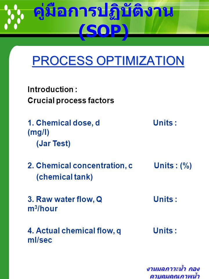 งานมลภาวะน้ำ กอง ควบคุมคุณภาพน้ำ คู่มือการปฏิบัติงาน (SOP) PROCESS OPTIMIZATION PROCESS OPTIMIZATION Introduction : Crucial process factors 1. Chemica