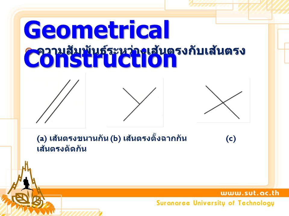  ความสัมพันธ์ระหว่างเส้นตรงกับเส้นตรง (a) เส้นตรงขนานกัน (b) เส้นตรงตั้งฉากกัน (c) เส้นตรงตัดกัน Geometrical Construction