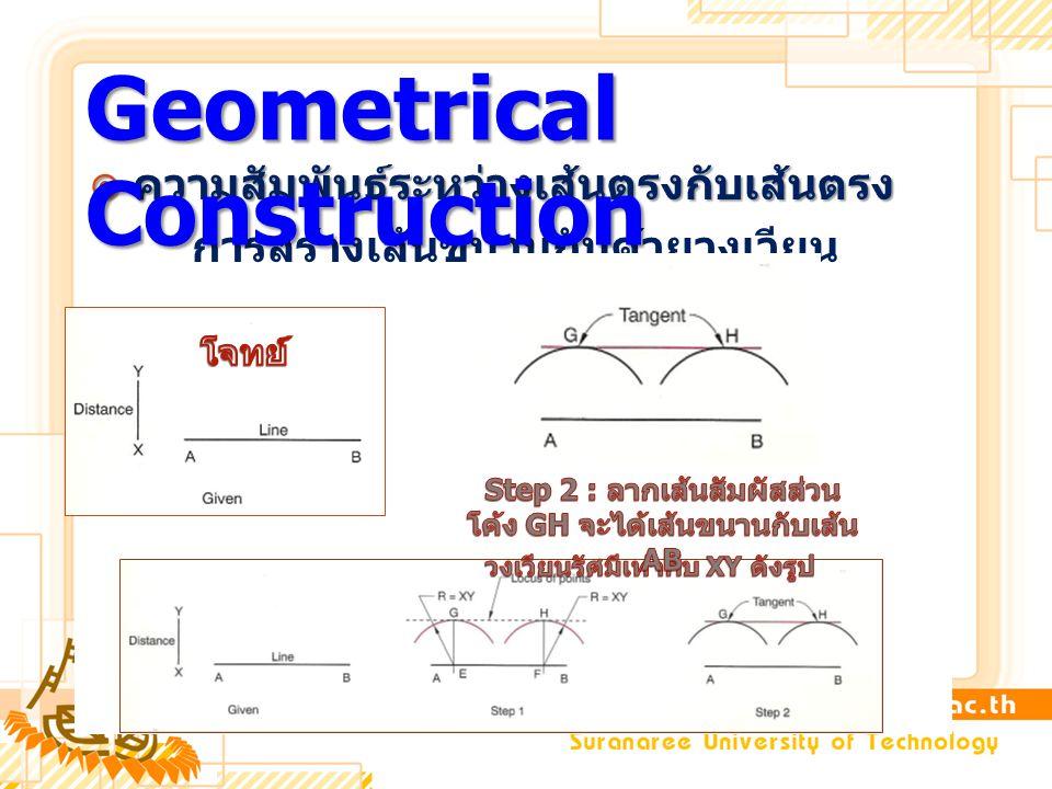 ความสัมพันธ์ระหว่างเส้นตรงกับเส้นตรง การสร้างเส้นขนานกันด้วยวงเวียน Geometrical Construction