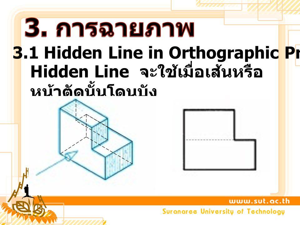 3.1 Hidden Line in Orthographic Projection Hidden Line จะใช้เมื่อเส้นหรือ หน้าตัดนั้นโดนบัง