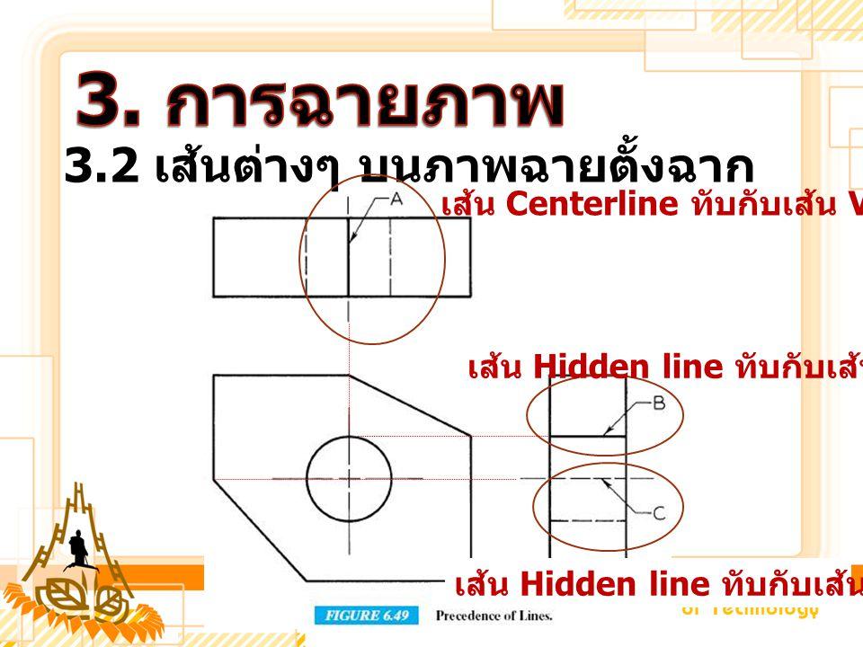 3.2 เส้นต่างๆ บนภาพฉายตั้งฉาก เส้น Centerline ทับกับเส้น Visible line เส้น Hidden line ทับกับเส้น Visible line เส้น Hidden line ทับกับเส้น Centerline