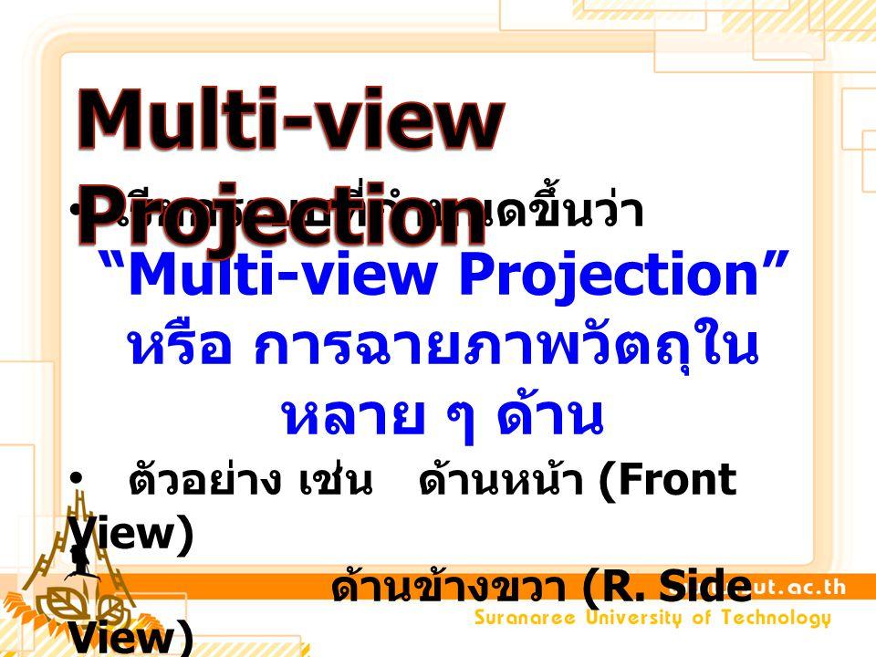 """เรียกระบบที่กำหนดขึ้นว่า """"Multi-view Projection"""" หรือ การฉายภาพวัตถุใน หลาย ๆ ด้าน ตัวอย่าง เช่นด้านหน้า (Front View) ด้านข้างขวา (R. Side View) ด้านบ"""