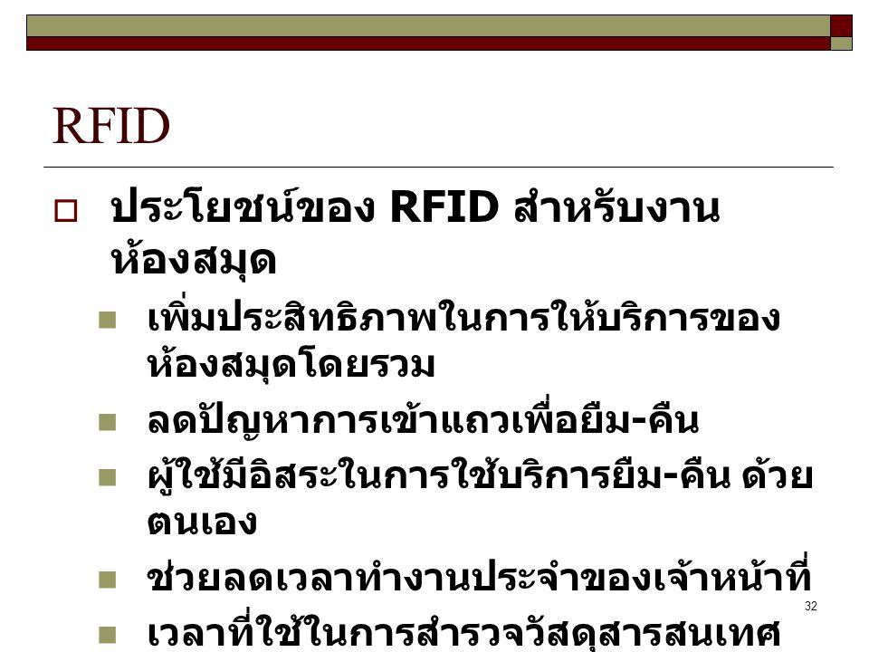 32 RFID  ประโยชน์ของ RFID สำหรับงาน ห้องสมุด เพิ่มประสิทธิภาพในการให้บริการของ ห้องสมุดโดยรวม ลดปัญหาการเข้าแถวเพื่อยืม - คืน ผู้ใช้มีอิสระในการใช้บริการยืม - คืน ด้วย ตนเอง ช่วยลดเวลาทำงานประจำของเจ้าหน้าที่ เวลาที่ใช้ในการสำรวจวัสดุสารสนเทศ น้อยลงมาก