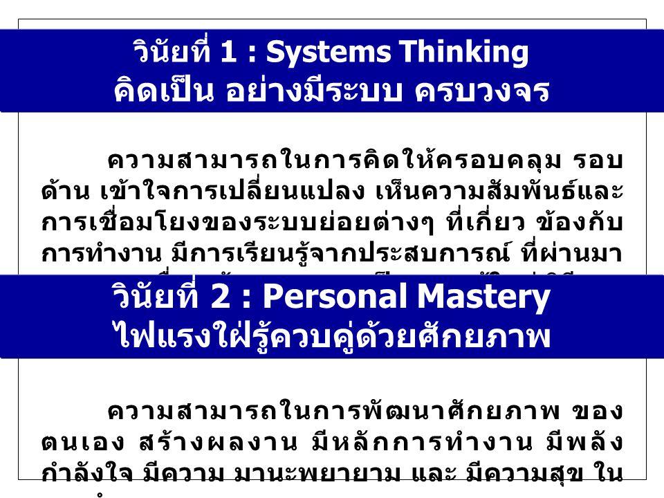 วินัยที่ 1 : Systems Thinking คิดเป็น อย่างมีระบบ ครบวงจร ความสามารถในการคิดให้ครอบคลุม รอบ ด้าน เข้าใจการเปลี่ยนแปลง เห็นความสัมพันธ์และ การเชื่อมโยงของระบบย่อยต่างๆ ที่เกี่ยว ข้องกับ การทำงาน มีการเรียนรู้จากประสบการณ์ ที่ผ่านมา จากบุคคลอื่น แล้วบูรณาการเป็นความรู้ใหม่ วิธีการ ใหม่ วินัยที่ 2 : Personal Mastery ไฟแรงใฝ่รู้ควบคู่ด้วยศักยภาพ ความสามารถในการพัฒนาศักยภาพ ของ ตนเอง สร้างผลงาน มีหลักการทำงาน มีพลัง กำลังใจ มีความ มานะพยายาม และ มีความสุข ใน การทำงาน