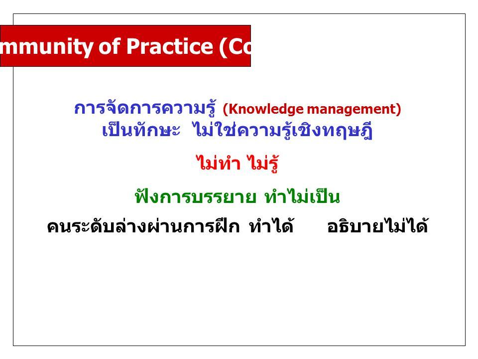 Community of Practice (CoP) การจัดการความรู้ (Knowledge management) เป็นทักษะ ไม่ใช่ความรู้เชิงทฤษฎี ไม่ทำ ไม่รู้ ฟังการบรรยาย ทำไม่เป็น คนระดับล่างผ่านการฝึก ทำได้ อธิบายไม่ได้