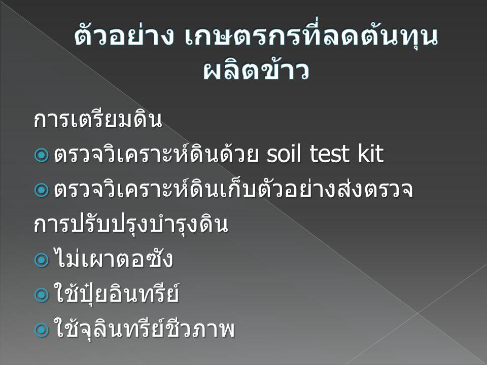 การเตรียมดิน  ตรวจวิเคราะห์ดินด้วย soil test kit  ตรวจวิเคราะห์ดินเก็บตัวอย่างส่งตรวจ การปรับปรุงบำรุงดิน  ไม่เผาตอซัง  ใช้ปุ๋ยอินทรีย์  ใช้จุลิน
