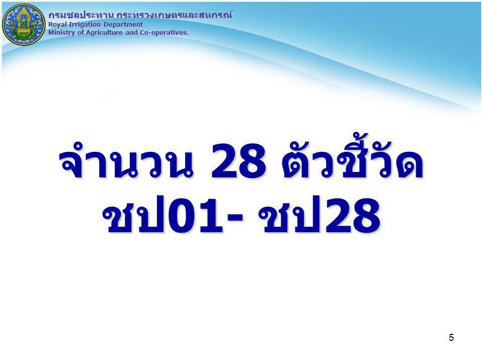 5 กรมชลประทาน กระทรวงเกษตรและสหกรณ์ Royal Irrigation Department Ministry of Agriculture and Co-operatives. จำนวน 28 ตัวชี้วัด ชป01- ชป28