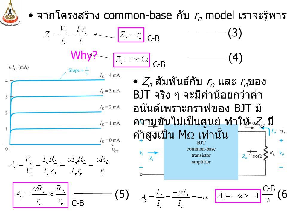 3 จากโครงสร้าง common-base กับ r e model เราจะรู้พารามิเตอร์ต่าง ๆ นี้ (3) (4) Why? Z o สัมพันธ์กับ r o และ r o ของ BJT จริง ๆ จะมีค่าน้อยกว่าค่า อนัน