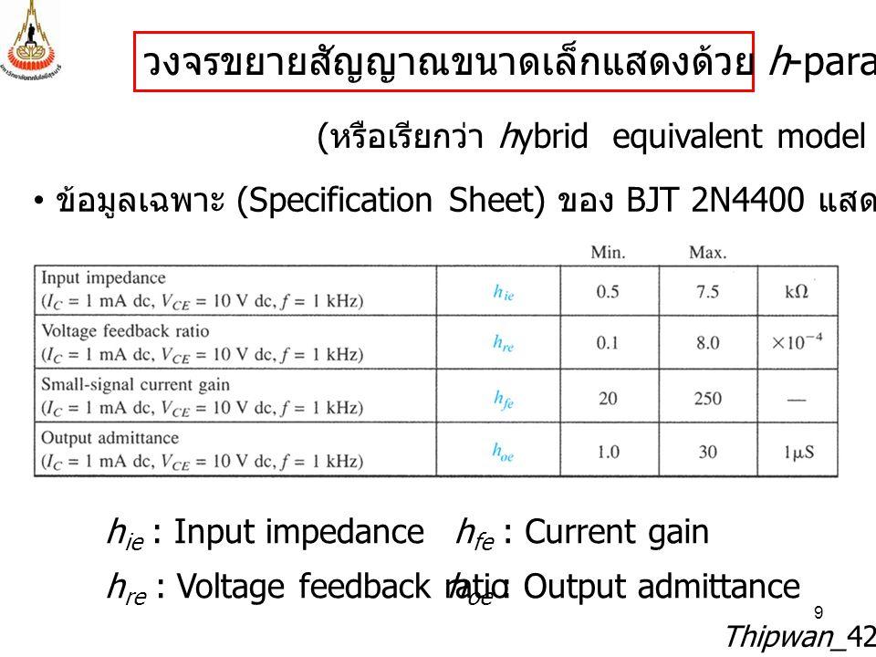 9 Thipwan_429212 วงจรขยายสัญญาณขนาดเล็กแสดงด้วย h-parameter model ( หรือเรียกว่า hybrid equivalent model ) ข้อมูลเฉพาะ (Specification Sheet) ของ BJT 2