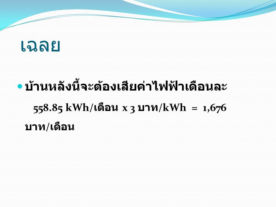 เฉลย บ้านหลังนี้จะต้องเสียค่าไฟฟ้าเดือนละ 558.85 kWh/ เดือน x 3 บาท /kWh = 1,676 บาท / เดือน