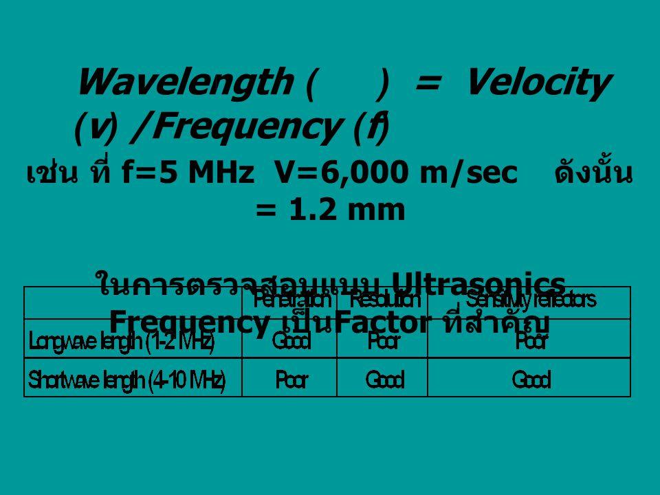 เช่น ที่ f=5 MHz V=6,000 m/sec ดังนั้น = 1.2 mm ในการตรวจสอบแบบ Ultrasonics Frequency เป็น Factor ที่สำคัญ Wavelength ( ) = Velocity (v) /Frequency (f)