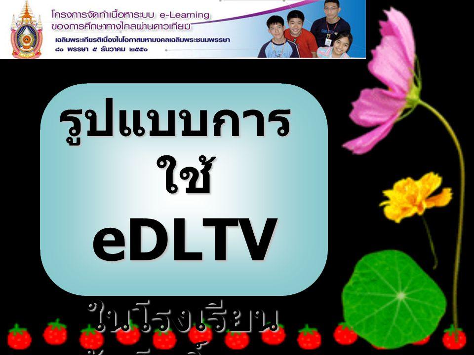 รูปแบบการ ใช้ eDLTV ในโรงเรียน วัดโพธิ์แทน ในโรงเรียน วัดโพธิ์แทน