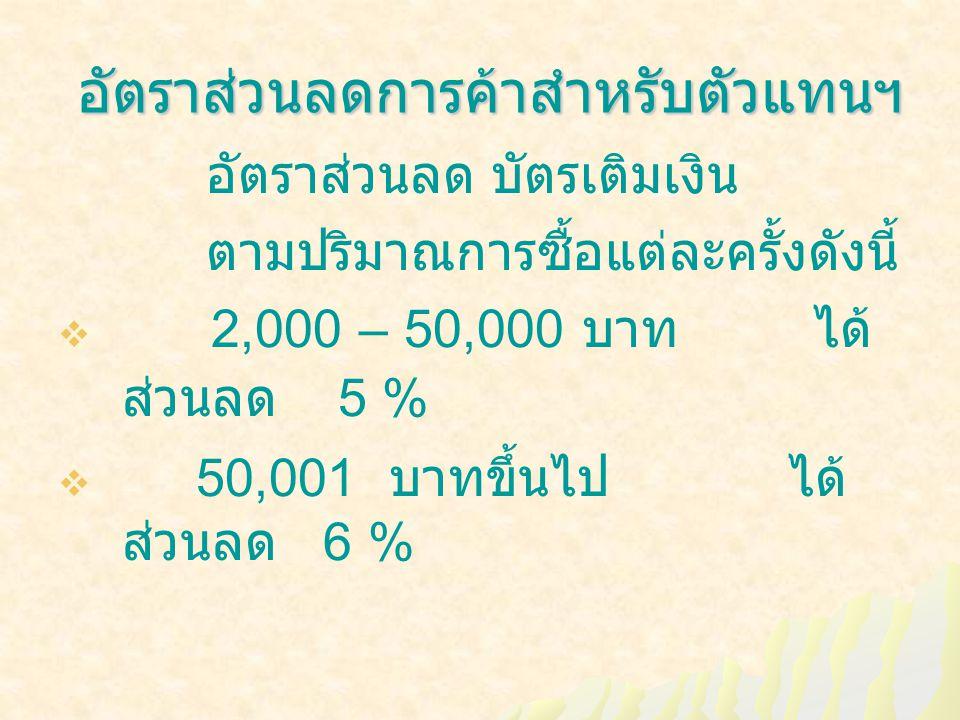 อัตราส่วนลดการค้าสำหรับตัวแทนฯ อัตราส่วนลดการค้าสำหรับตัวแทนฯ อัตราส่วนลด บัตรเติมเงิน ตามปริมาณการซื้อแต่ละครั้งดังนี้  2,000 – 50,000 บาท ได้ ส่วนลด 5 %  50,001 บาทขึ้นไป ได้ ส่วนลด 6 %