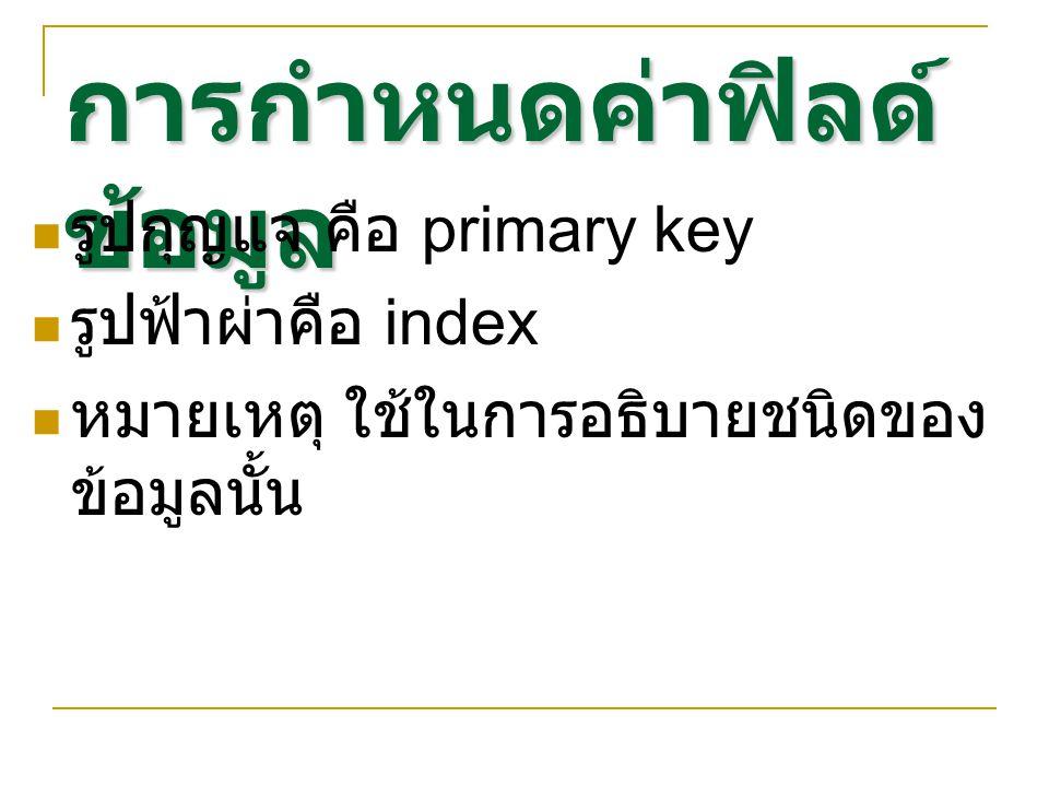 การกำหนดค่าฟิลด์ ข้อมูล รูปกุญแจ คือ primary key รูปฟ้าผ่าคือ index หมายเหตุ ใช้ในการอธิบายชนิดของ ข้อมูลนั้น
