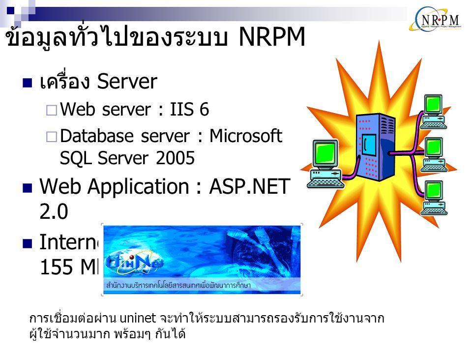 ข้อมูลทั่วไปของระบบ NRPM เครื่อง Server  Web server : IIS 6  Database server : Microsoft SQL Server 2005 Web Application : ASP.NET 2.0 Internet Conn