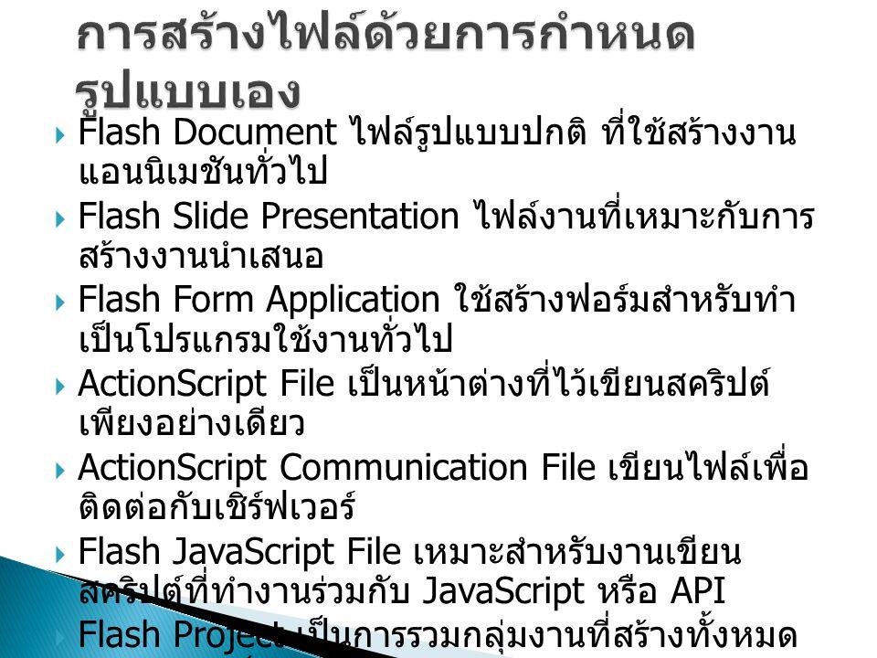  Flash Document ไฟล์รูปแบบปกติ ที่ใช้สร้างงาน แอนนิเมชันทั่วไป  Flash Slide Presentation ไฟล์งานที่เหมาะกับการ สร้างงานนำเสนอ  Flash Form Application ใช้สร้างฟอร์มสำหรับทำ เป็นโปรแกรมใช้งานทั่วไป  ActionScript File เป็นหน้าต่างที่ไว้เขียนสคริปต์ เพียงอย่างเดียว  ActionScript Communication File เขียนไฟล์เพื่อ ติดต่อกับเชิร์ฟเวอร์  Flash JavaScript File เหมาะสำหรับงานเขียน สคริปต์ที่ทำงานร่วมกับ JavaScript หรือ API  Flash Project เป็นการรวมกลุ่มงานที่สร้างทั้งหมด ให้ออกมาเป็น Project ไฟล์
