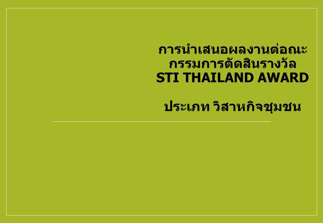 การนำเสนอผลงานต่อณะ กรรมการตัดสินรางวัล STI THAILAND AWARD ประเภท วิสาหกิจชุมชน
