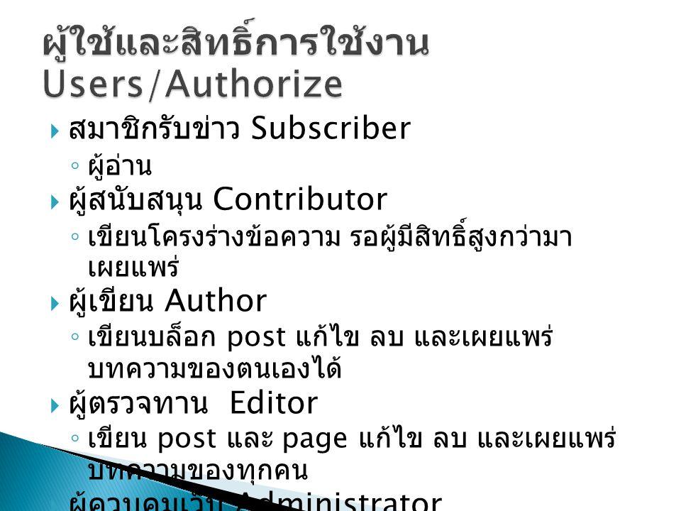  สมาชิกรับข่าว Subscriber ◦ ผู้อ่าน  ผู้สนับสนุน Contributor ◦ เขียนโครงร่างข้อความ รอผู้มีสิทธิ์สูงกว่ามา เผยแพร่  ผู้เขียน Author ◦ เขียนบล็อก post แก้ไข ลบ และเผยแพร่ บทความของตนเองได้  ผู้ตรวจทาน Editor ◦ เขียน post และ page แก้ไข ลบ และเผยแพร่ บทความของทุกคน  ผู้ควบคุมเว็บ Administrator