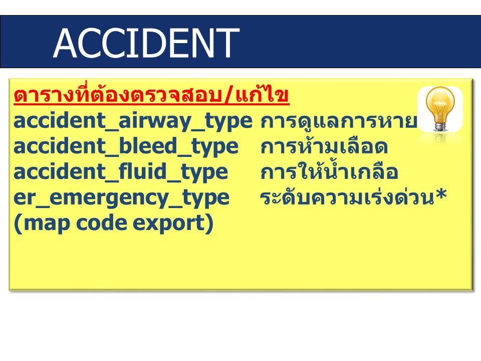 ACCIDENT ตารางที่ต้องตรวจสอบ / แก้ไข accident_airway_type การดูแลการหายใจ accident_bleed_type การห้ามเลือด accident_fluid_type การให้น้ำเกลือ er_emerg