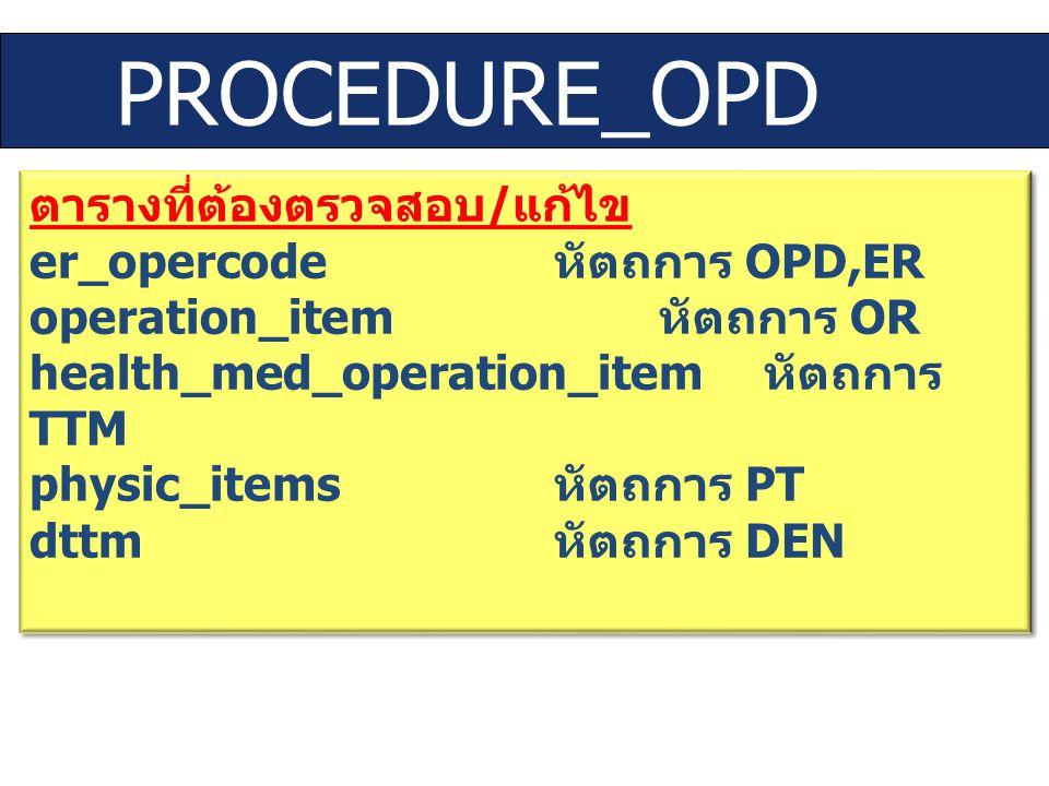 PROCEDURE_OPD ตารางที่ต้องตรวจสอบ / แก้ไข er_opercode หัตถการ OPD,ER operation_item หัตถการ OR health_med_operation_item หัตถการ TTM physic_items หัตถ