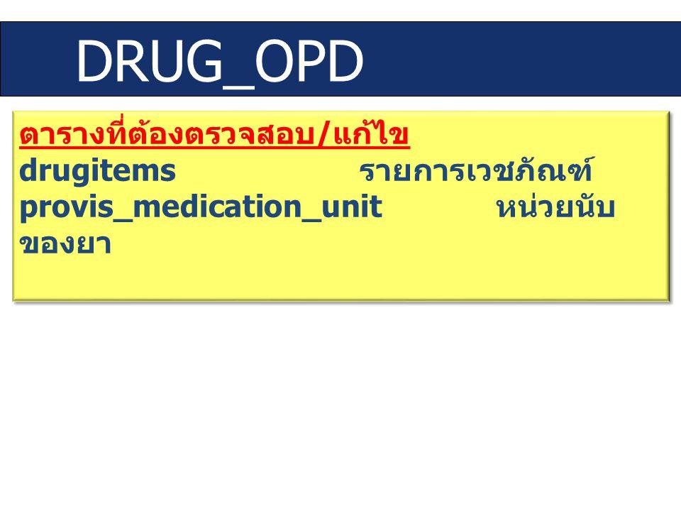 DRUG_OPD ตารางที่ต้องตรวจสอบ / แก้ไข drugitems รายการเวชภัณฑ์ provis_medication_unit หน่วยนับ ของยา ตารางที่ต้องตรวจสอบ / แก้ไข drugitems รายการเวชภัณ