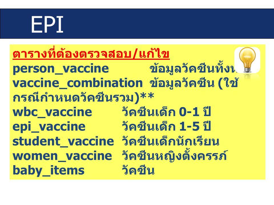 ตารางที่ต้องตรวจสอบ / แก้ไข person_vaccine ข้อมูลวัคซีนทั้งหมด vaccine_combination ข้อมูลวัคซีน ( ใช้ กรณีกำหนดวัคซีนรวม )** wbc_vaccine วัคซีนเด็ก 0-