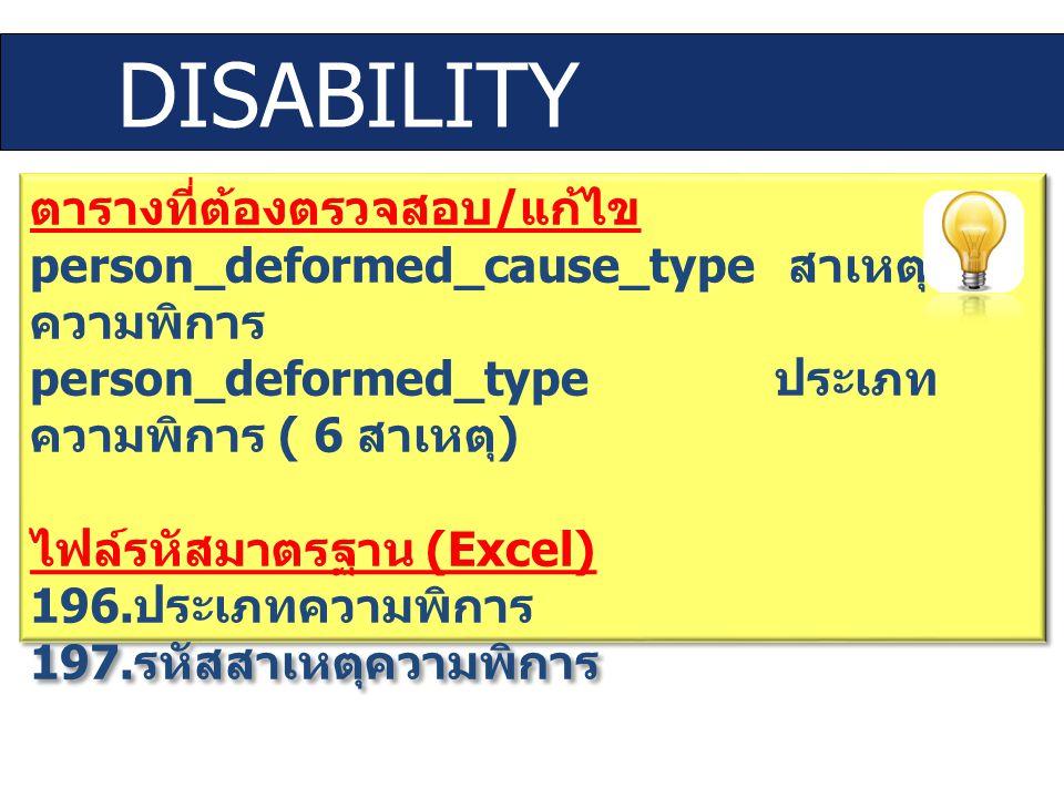DISABILITY ตารางที่ต้องตรวจสอบ / แก้ไข person_deformed_cause_type สาเหตุ ความพิการ person_deformed_type ประเภท ความพิการ ( 6 สาเหตุ ) ไฟล์รหัสมาตรฐาน