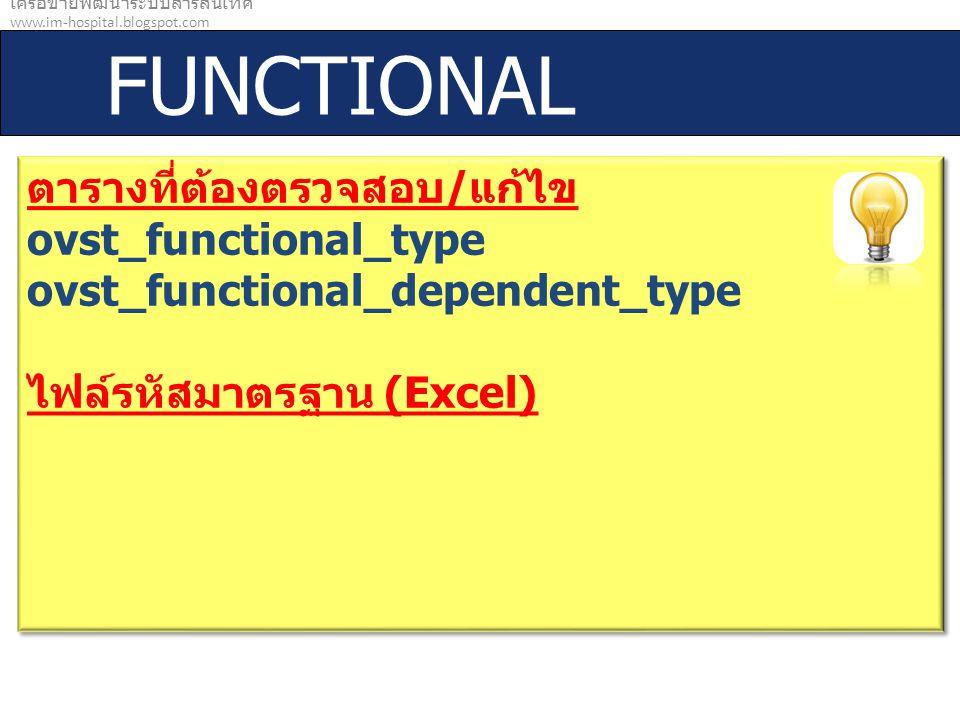 เครือข่ายพัฒนาระบบสารสนเทศ www.im-hospital.blogspot.com FUNCTIONAL ตารางที่ต้องตรวจสอบ / แก้ไข ovst_functional_type ovst_functional_dependent_type ไฟล