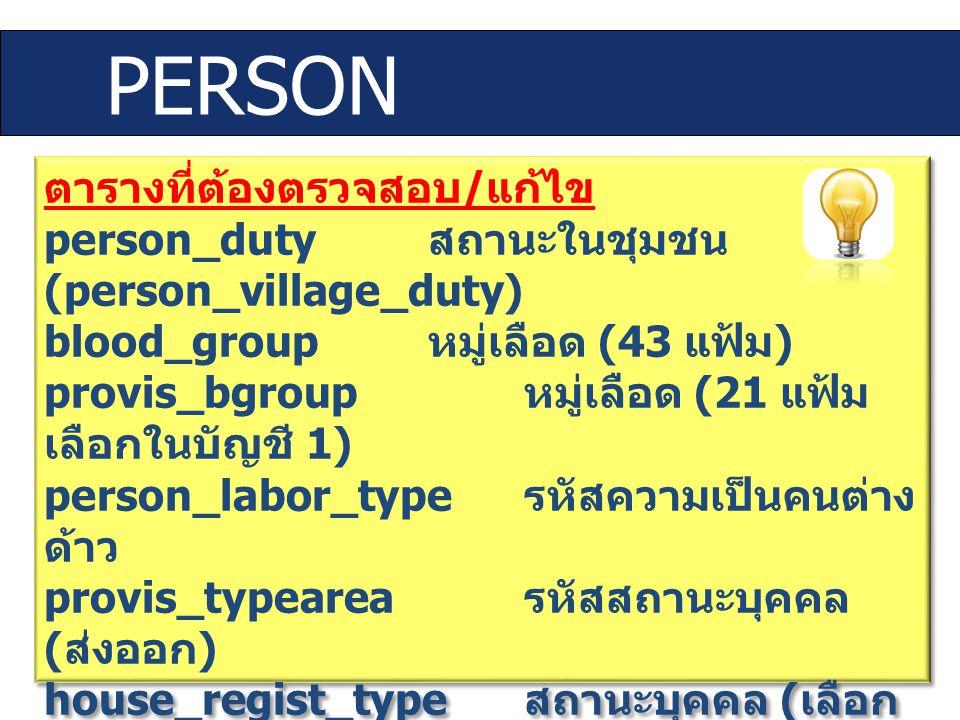ตารางที่ต้องตรวจสอบ / แก้ไข person_duty สถานะในชุมชน (person_village_duty) blood_group หมู่เลือด (43 แฟ้ม ) provis_bgroup หมู่เลือด (21 แฟ้ม เลือกในบั
