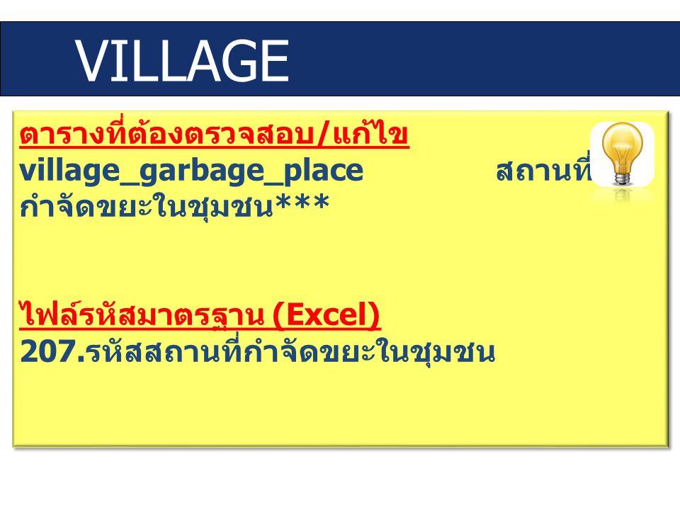 VILLAGE ตารางที่ต้องตรวจสอบ / แก้ไข village_garbage_place สถานที่ กำจัดขยะในชุมชน *** ไฟล์รหัสมาตรฐาน (Excel) 207. รหัสสถานที่กำจัดขยะในชุมชน ตารางที่