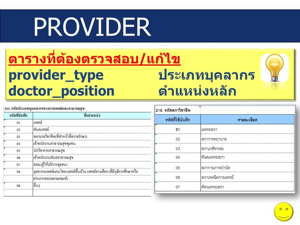 ตารางที่ต้องตรวจสอบ / แก้ไข provider_type ประเภทบุคลากร doctor_position ตำแหน่งหลัก ตารางที่ต้องตรวจสอบ / แก้ไข provider_type ประเภทบุคลากร doctor_pos