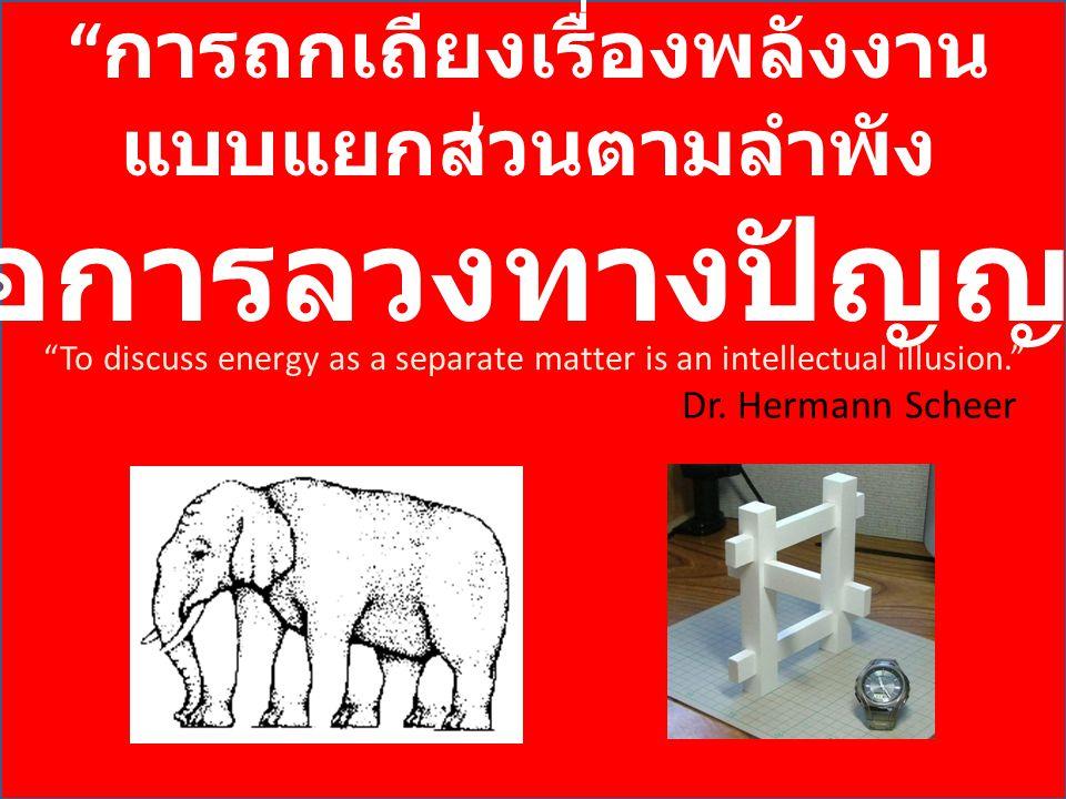 """"""" การถกเถียงเรื่องพลังงาน แบบแยกส่วนตามลำพัง คือการลวงทางปัญญา """" Dr. Hermann Scheer """"To discuss energy as a separate matter is an intellectual illusio"""