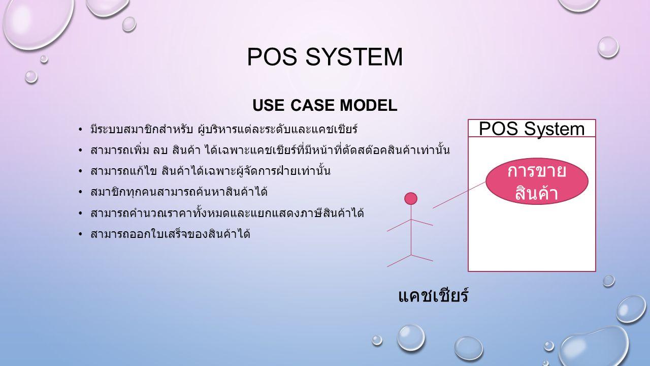 POS SYSTEM USE CASE MODEL มีระบบสมาชิกสำหรับ ผู้บริหารแต่ละระดับและแคชเชียร์ สามารถเพิ่ม ลบ สินค้า ได้เฉพาะแคชเชียร์ที่มีหน้าที่ตัดสต๊อคสินค้าเท่านั้น