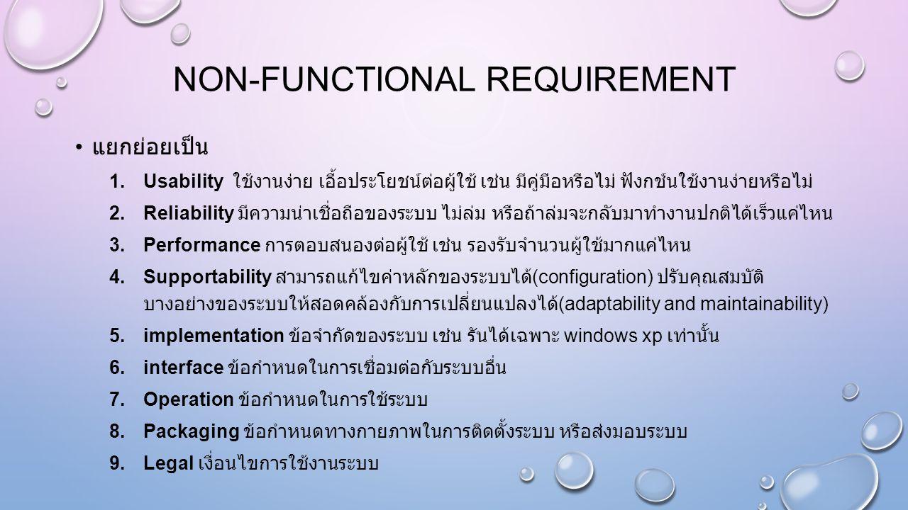 NON-FUNCTIONAL REQUIREMENT แยกย่อยเป็น 1.Usability ใช้งานง่าย เอื้อประโยชน์ต่อผู้ใช้ เช่น มีคู่มือหรือไม่ ฟังกช์นใช้งานง่ายหรือไม่ 2.Reliability มีควา