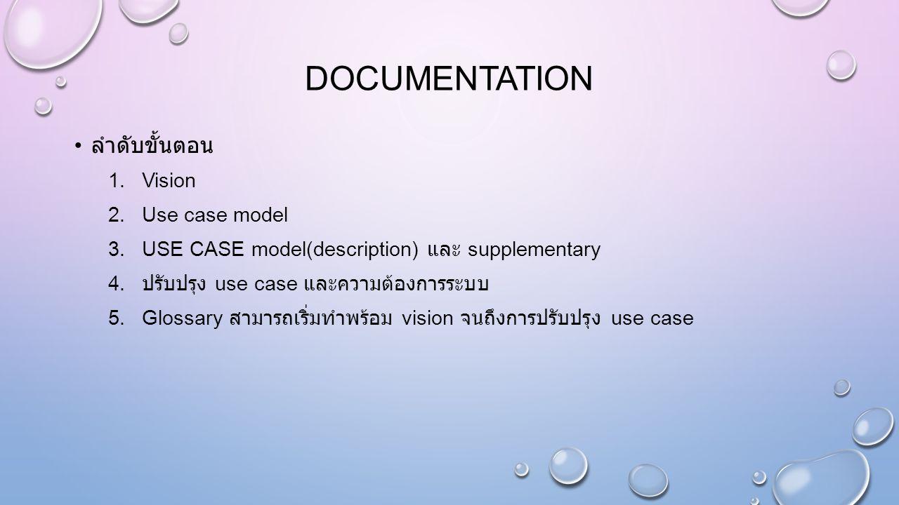 DOCUMENTATION ลำดับขั้นตอน 1.Vision 2.Use case model 3.USE CASE model(description) และ supplementary 4. ปรับปรุง use case และความต้องการระบบ 5.Glossar