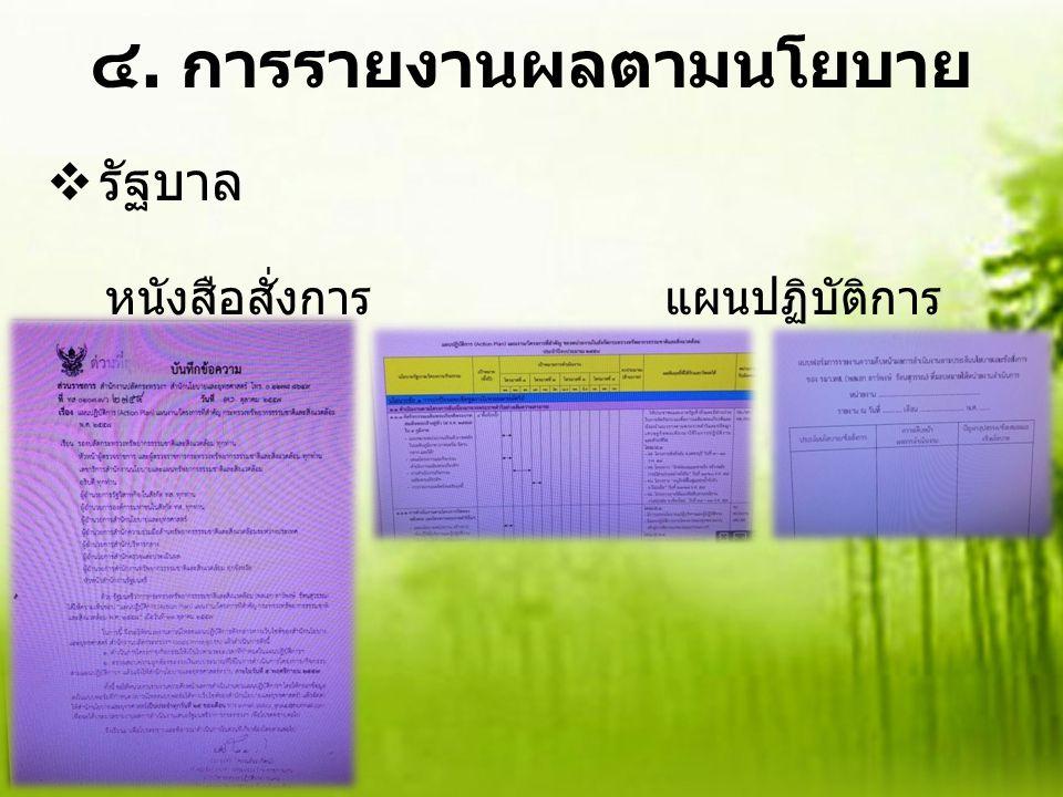 ๔. การรายงานผลตามนโยบาย  รัฐบาล หนังสือสั่งการ แผนปฏิบัติการ แบบฟอร์ม