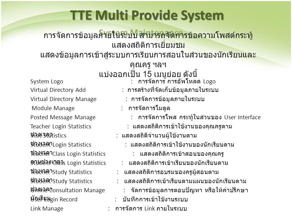 TTE Multi Provide System System Maintenance การจัดการข้อมูลภายในระบบ สามารถจัดการข้อความโพสต์กระทู้ แสดงสถิติการเยี่ยมชม แสดงข้อมูลการเข้าสู่ระบบการเร
