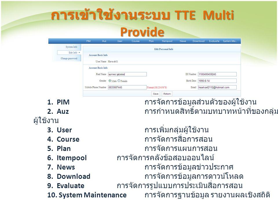 การเข้าใช้งานระบบ TTE Multi Provide 1. PIM การจัดการข้อมูลส่วนตัวของผู้ใช้งาน 2. Auz การกำหนดสิทธิ์ตามบทบาทหน้าที่ของกลุ่ม ผู้ใช้งาน 3. User การเพิ่มก