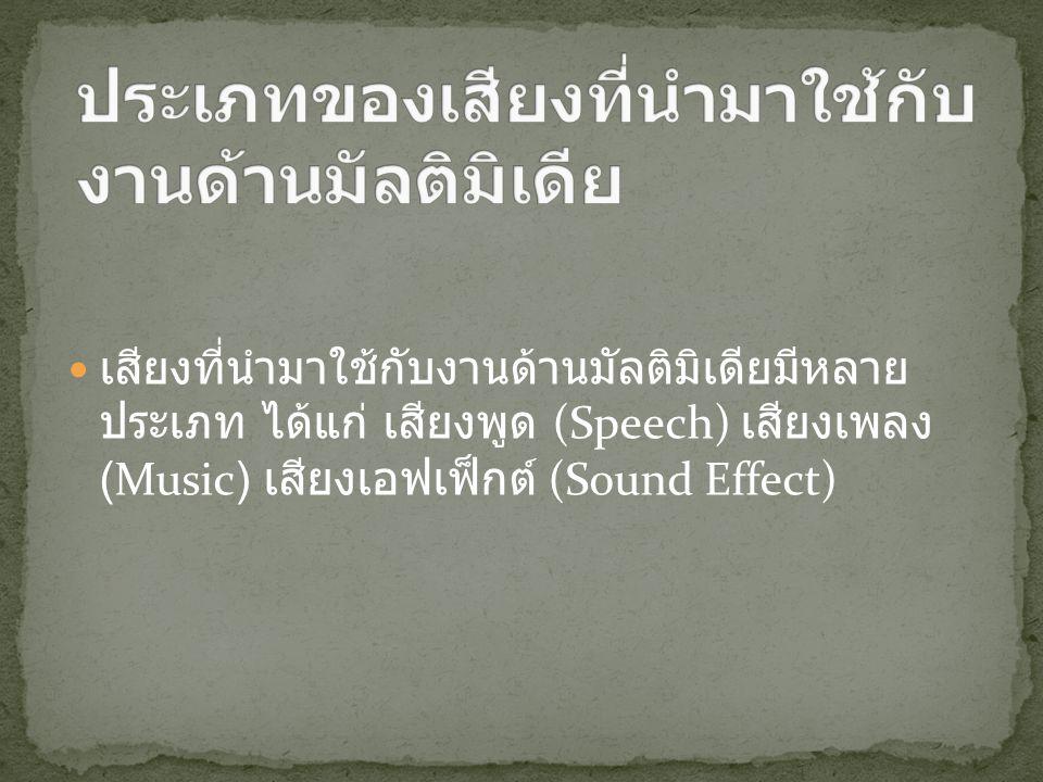 เสียงที่นำมาใช้กับงานด้านมัลติมิเดียมีหลาย ประเภท ได้แก่ เสียงพูด (Speech) เสียงเพลง (Music) เสียงเอฟเฟ็กต์ (Sound Effect)