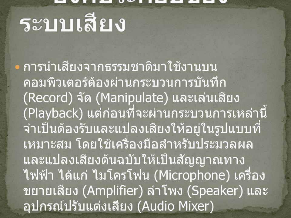 การนำเสียงจากธรรมชาติมาใช้งานบน คอมพิวเตอร์ต้องผ่านกระบวนการบันทึก (Record) จัด (Manipulate) และเล่นเสียง (Playback) แต่ก่อนที่จะผ่านกระบวนการเหล่านี้ จำเป็นต้องรับและแปลงเสียงให้อยู่ในรูปแบบที่ เหมาะสม โดยใช้เครื่องมือสำหรับประมวลผล และแปลงเสียงต้นฉบับให้เป็นสัญญาณทาง ไฟฟ้า ได้แก่ ไมโครโฟน (Microphone) เครื่อง ขยายเสียง (Amplifier) ลำโพง (Speaker) และ อุปกรณ์ปรับแต่งเสียง (Audio Mixer)