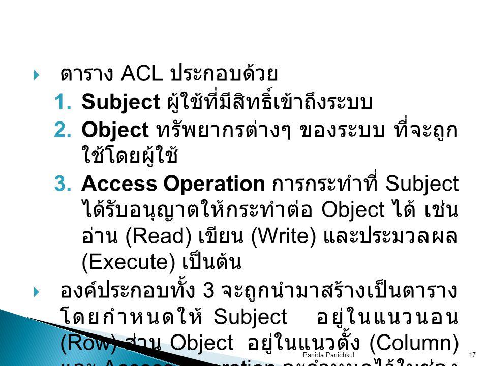 Panida Panichkul17  ตาราง ACL ประกอบด้วย 1.Subject ผู้ใช้ที่มีสิทธิ์เข้าถึงระบบ 2.Object ทรัพยากรต่างๆ ของระบบ ที่จะถูก ใช้โดยผู้ใช้ 3.Access Operation การกระทำที่ Subject ได้รับอนุญาตให้กระทำต่อ Object ได้ เช่น อ่าน (Read) เขียน (Write) และประมวลผล (Execute) เป็นต้น  องค์ประกอบทั้ง 3 จะถูกนำมาสร้างเป็นตาราง โดยกำหนดให้ Subject อยู่ในแนวนอน (Row) ส่วน Object อยู่ในแนวตั้ง (Column) และ Access Operation จะกำหนดไว้ในช่อง ที่เกิดจากการตัดกันของ Subject และ Object ดังตัวอย่างต่อไปนี้