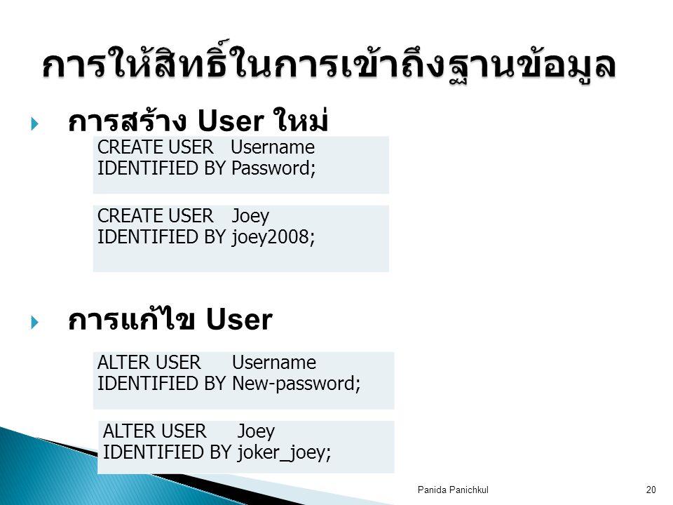 Panida Panichkul20  การสร้าง User ใหม่  การแก้ไข User CREATE USER Username IDENTIFIED BY Password; CREATE USER Joey IDENTIFIED BY joey2008; ALTER USER Username IDENTIFIED BY New-password; ALTER USER Joey IDENTIFIED BY joker_joey;