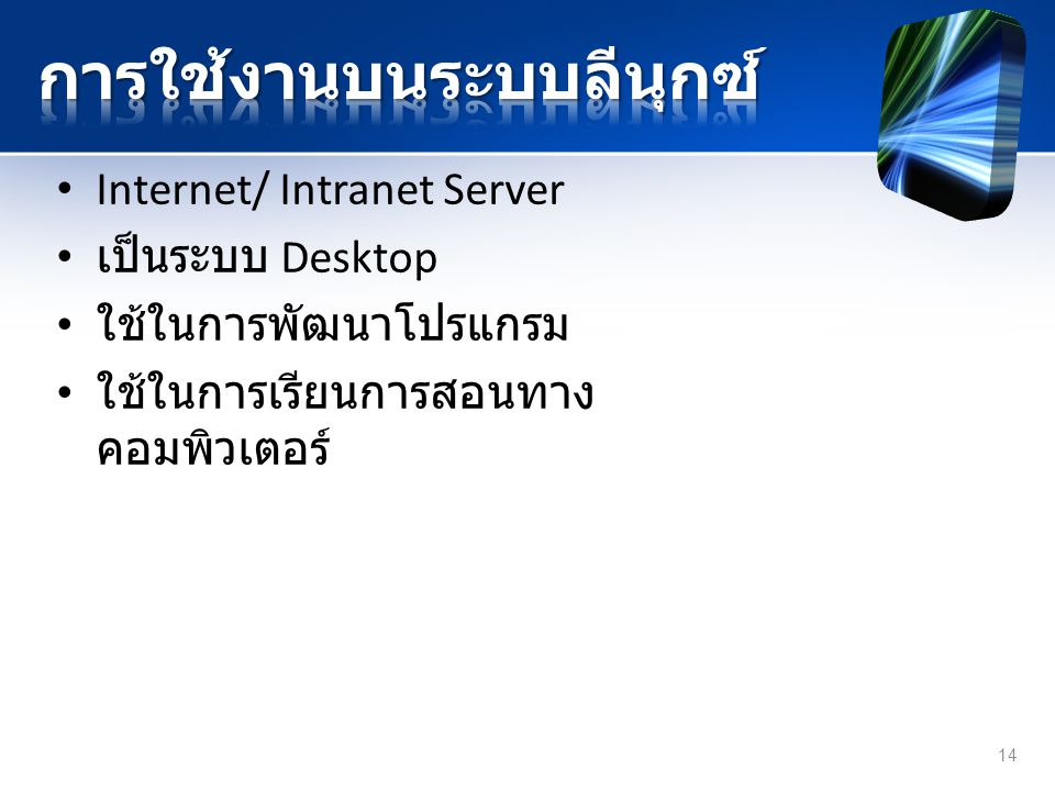 Internet/ Intranet Server เป็นระบบ Desktop ใช้ในการพัฒนาโปรแกรม ใช้ในการเรียนการสอนทาง คอมพิวเตอร์ 14