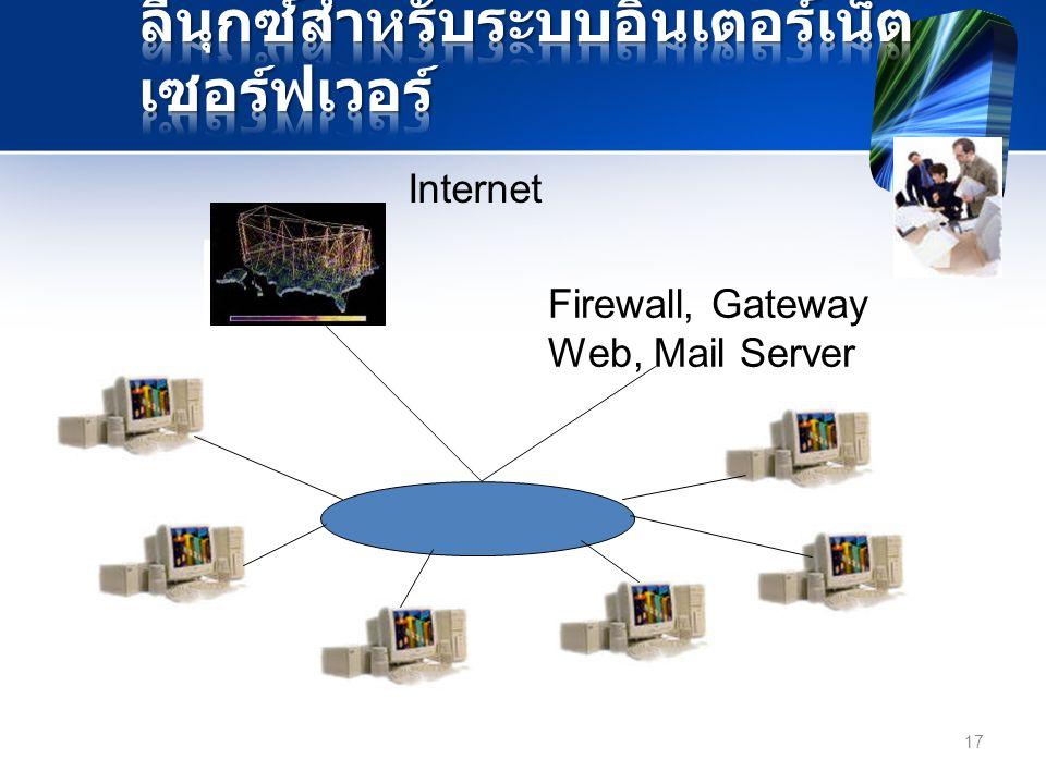 Internet Firewall, Gateway Web, Mail Server 17