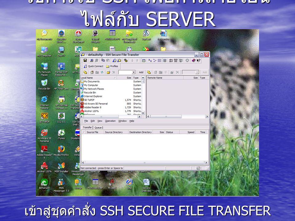 วิธีการใช้ SSH เพื่อการถ่ายโอน ไฟล์กับ SERVER เข้าสู่ชุดคำสั่ง SSH SECURE FILE TRANSFER