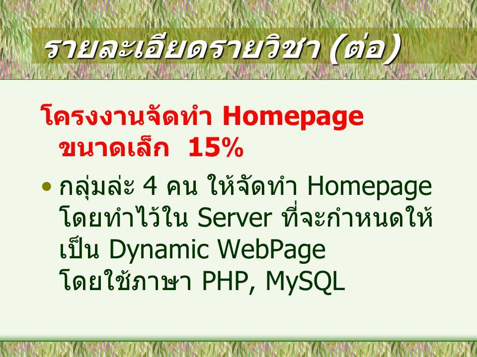 รายละเอียดรายวิชา ( ต่อ ) โครงงานจัดทำ Homepage ขนาดเล็ก 15% กลุ่มล่ะ 4 คน ให้จัดทำ Homepage โดยทำไว้ใน Server ที่จะกำหนดให้ เป็น Dynamic WebPage โดยใช้ภาษา PHP, MySQL