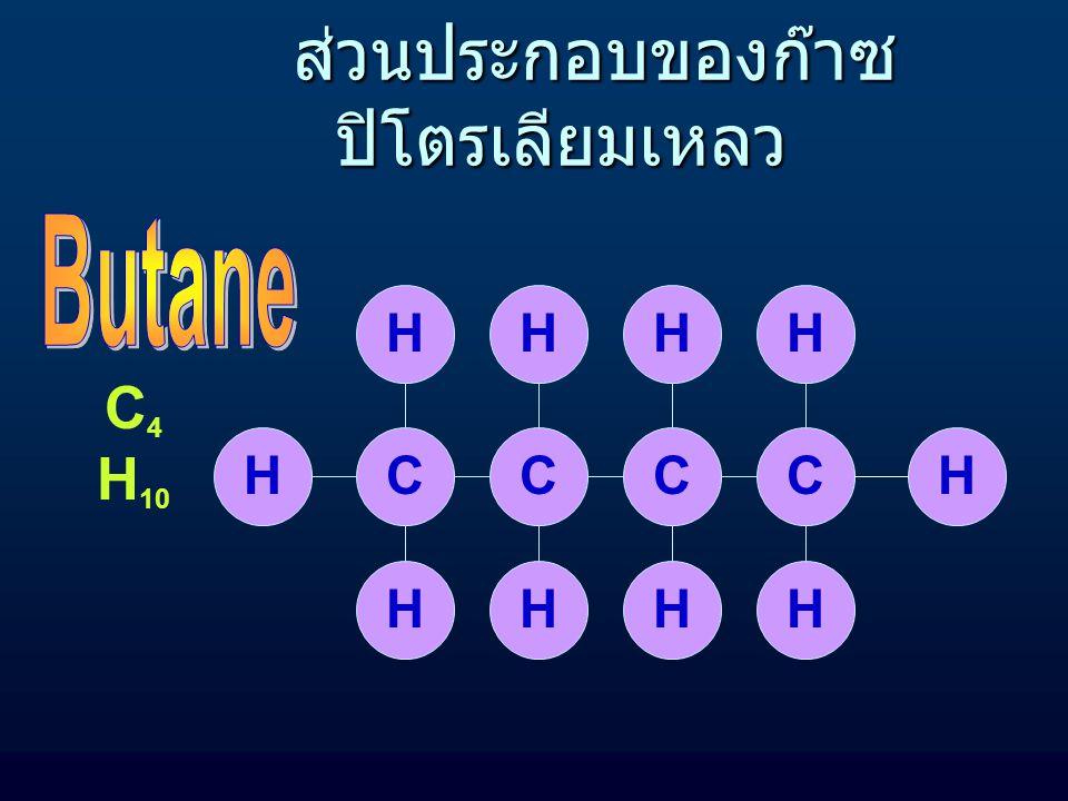 CCCH HHH HHHH C 3 H 8 ส่วนประกอบของก๊าซ ปิโตรเลียมเหลว ส่วนประกอบของก๊าซ ปิโตรเลียมเหลว
